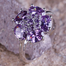 Wholesale Alluring Flower Design Pear Cut Amethyst 925 Silver Ring Size 10 New Design New Fashion Jewelry 2014 Gift  For Women