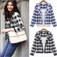 NEW 2014 Women Jackets Autumn Winter Fashion Women Blazer Coat Plus Size 2pcs Classic Plaid Jacket Slim Cardigan Drop Shipping
