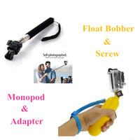 Gopro Monopod Tripod Mount Adapter + Gopro Float Bobber Handheld Stick For Gopro Hero 3 3+ 2 HD Accessories Black Edition