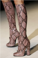 Big Size 11 Newest 2014 Designer Top Leather Python Horsebit Knee Boot Squared Toe Chunky Heel Women Dress Shoes REAL PHOTO!