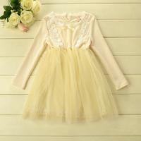 Princess long sleeve  CROCHET FLOWERS autumn  kids dress 5pcs/lot wholesale
