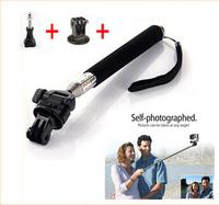 GoPro Accessories Adjustable Extendable Handheld Monopod + Tripod Mount Adapter + Screw for Go Pro HD Hero 2 3 3+ Black Edition
