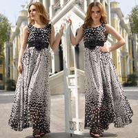Fress Shipping 2014 2015 advanced elegant chiffon flower bilateral expansion bottom polka dot with belt full one-piece dress