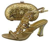 New 2014 Italy style  sexy   lady high heel  shoes with matching  cluth or bag CSB1074-GOLD
