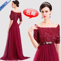 The new bride wedding toast dress , burgundy dress was thin Slim