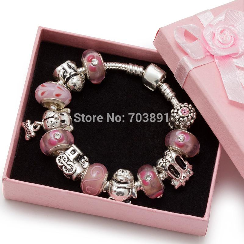 Fashion European Pink Murano Glass Beads Silver Plated DIY Jewelry for Children Kid Baby Girls Boys Charm Bracelets Bangles(China (Mainland))