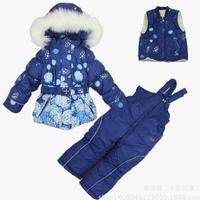 2014 New Children's Winter Clothing Set girls Ski Suit Windproof print Warm Fur Jackets with belt +Bib Pants+Wool Vest 2 Colors