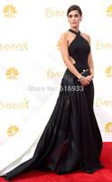 2014 Emmy Award Best celebrity dresses Halter Black and white evening Dresses halter backless prom dress with court train WC05