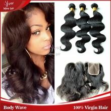 6A peruvian hair bundles with lace closures 3bundles peruvian body wave with a lace closure free shipping unprocessed human hair(China (Mainland))