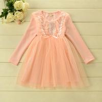 Korean style autumn  Long sleeved  fur Pearl  round collar princess dress