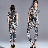 New High Grade Women's Fashion Animal Image Printing Tiger Graphic Patterns Slim T-shirt Harem Pant Jacket Trousers Suit Set