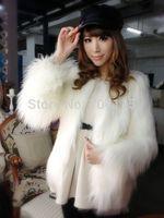 Fashion long  faux fox fur coat