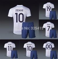 France Pogba benzema zidane ribery Griezmann nasri Valbuena national away white jersey and short soccer uniforms football kits