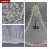 GoingWedding Brand New Wholesale Retail Lace Edge Two-Layer Long Lace Wedding Veil TS016
