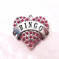 multicolor!  free shipping 100pcs a lot  rhodium  plated  fashion  BINGO  Crystal Heart Pendant accessories