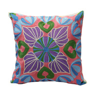 50*50 H&J  Cotton with Embroidery Throw Cushion Cover  Purple Pink Blue Leaves  Pattern  Rustic  Style 20*20 Inch