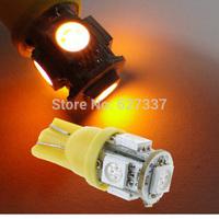 free shipping Yellow T10 5 SMD LED T10 5SMD bulb 5SMD 5050 5LED 5 LED Wedge Light Bulb Auto led car lights 100pcs/ lot
