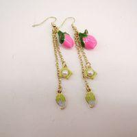 fashion earrings for women 2014 hot selling Enamel earrings roses  girls love best