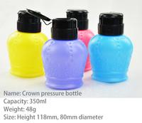 Free shipping Nail art Bottles,Lovely crown  Pressure Bottle/plastic pressure bottle ,make up remover bottle