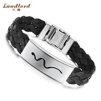 [Landlord] Fashion men jewelry Buckle Black Brown Wide Knitted Belt Carven Snake Bracelets 316L Stainless Steel Bracelets PH518
