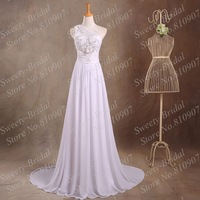 One-Shoulder Chiffon Wedding Dresses Beaded Handmade Flowers Empire A-line Chiffon Wedding Gowns 7A9811 Custom Made
