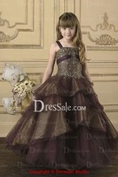 2014 High quality grey Flower girl dresses for wedding party children dresses princess pageant gowns kids