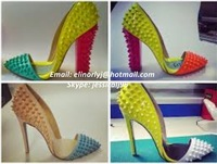 2014 Sexy Color-Matching Spike Pointed-toe Giadiator Pumps High Chunky Heel Shoes Woman