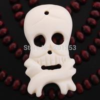17x42mm Bone Carved NZ Maori Skull Pendant Necklace