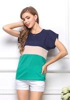 2014 Women Fashion Plus Size Blouse Chiffon Shirts T-Shirt Patchwork Tops Short Sleeve All-Match Clothes Brand Summer CL2025