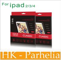 0.4mm Slim  Top Sticker Tempered Glass Screen Protector for ipad 234 ipad air ipad mini  with retail box carton box