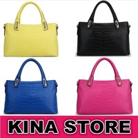 4 Colors Free shipping Women Embossed crocodile pattern fashion handbags Business Genuine Leather Soft Totes