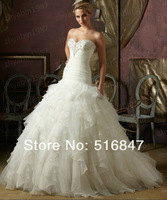 2014 New Elegant Long White/ivory Ball Gown Beading Tiered Organza Lace Up Bridal Gown Wedding Dresses Custom Size