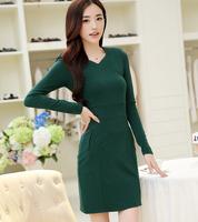 high quality new women office dress 2014 autumn winter fashion casual high waist long sleeve slim solid skinny pencil dresses
