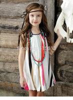 New arrive 2014 hot Summer European&America children clothing,baby  girls splice floral dress,stripe kids clothes national trend
