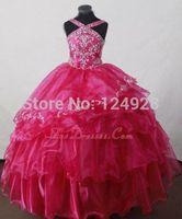 New Arrival red ewel Neck Sleeveless Dress Zipper Sweep Train Ivory Belt Flower Girl Dresses Girls pageant Gown