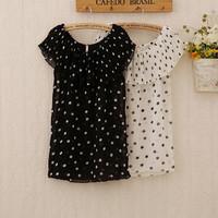 341 Free Shipping New Summer spring women's chiffon shirt blusas t shirt 2014 camisas sweet girls dot short blouses