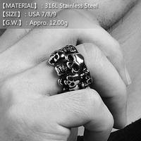 [316L] Unisex Skeleton 316L Stainless Steel Punk Ring in USA Size 7/8/9,Nine Skull Round Striking Man Ring Hip Pop Style Jewelry