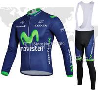 2014 Movistar Cycling Jersey bib kit long Sleeve bib pants Cycling thight ropa Ciclismo bicycle fitness clothes bicicleta BIKE