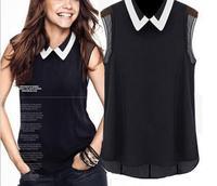 zhang  women shirt spring summer brand chiffon blouse turn-down collar fashion sleeveless chiffon shirt  FTX007