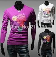 New fall men's casual shirt printing cotton long-sleeved T-shirt Slim