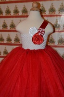 Flower Girl Dresses one shoulder rose red and white Cute Lovely White Customized White Floral Ankle Length Cheap New