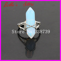 10PCS Opal Opalite Point Wire Wrapped Ring with Plated Silver Bail Adjustable Circle,Hexagon Gems Druzy Bead sliver ring