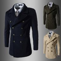 828Autumn/Winter New arrivals Korean men Slim style simple design double-breasted turn down collar woolen coat patchwork
