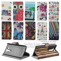 New Plum Flower Case For LG G3 mini D722 D725 Shell Phones Card Holder Stand Wallet Flip Case Circle Butterfly Jellyfish Flag