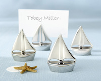 Free Shipping Sailing Boat Name Card Silver Place Card Holders Wedding Favors Wholesale 30PCS/LOT