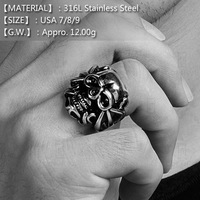 [316L] Unisex Fork Skull Man Ring, 316L Stainless Steel Punk Ring in USA Size 7/8/9,Black Metal Man Ring Hip Pop Style Jewelry
