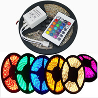 1PC New 5M 5050 SMD IP65 Waterproof 60Led/M Strip String Light Tape Roll + 24 Key Remote Control, Free Shipping