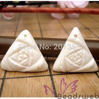 Handmade Carved Bone Triangle Loose Beads 2pcs 21*21mm