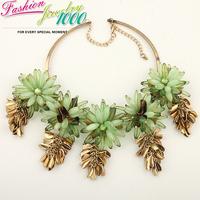 New Vintage Tassel Green Multi Layer Flower Collar Bib Necklace Fashion Luxury Chunky Statement Choker Charm Jewelry Women Party