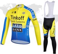 2014 SAXO BANK Tinkoff Cycling Jersey bib kit long Sleeve bib pants Cycling thight ropa Ciclismo bike fitness clothes bicicleta